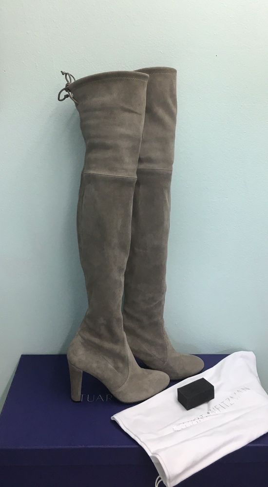 e1cae7c72e2 Stuart Weitzman Highland Over the Knee Taupe Topo Grey Suede Boots Sz 7.5  in Box