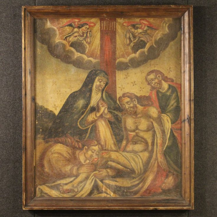 "1800€ Spanish painting depicting ""Deposition"" of the 18th century. Visit our website www.parino.it #antiques #antiquariato #painting #art #antiquities #antiquario #canvas #oiloncanvas #sacredart #quadro #dipinto #religious #arte #tela #decorative #interiordesign #homedecoration #antiqueshop #antiquestore"
