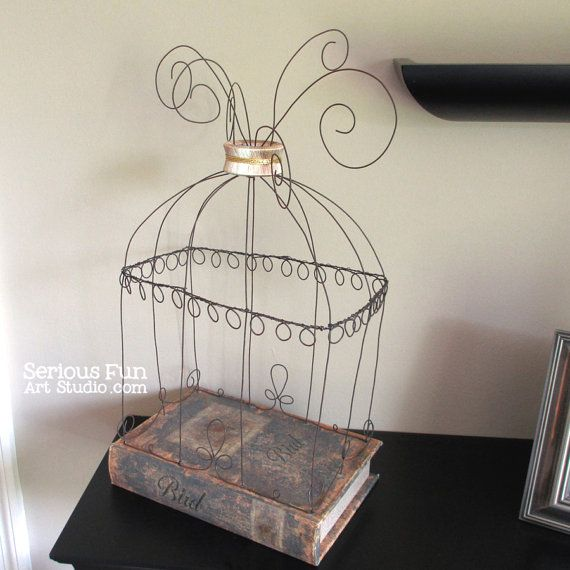 Handmade Wire Sculpture CAGED CONTENTMENT bird cage on book foundation. Display cage.