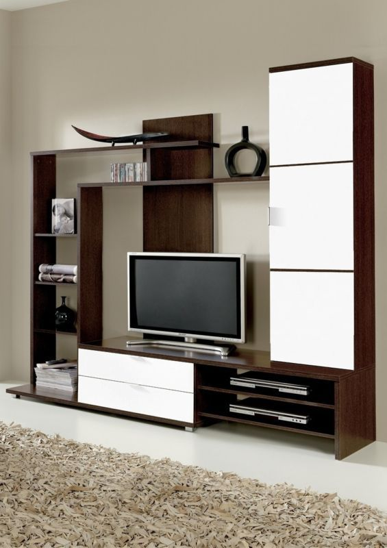Carmela TV Media Full Wall Unit Melamine Veneer White Gloss on Wenge Wood