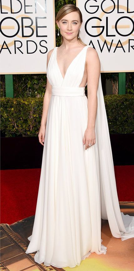 2016 Golden Globes Red Carpet Arrivals - Saoirse Ronan in Yves Saint Laurent Couture by Hedi Slimane dress; #Chopard jewelry; Brian Atwood heels #brianatwoodheels2016 #brianatwoodheelsdresses