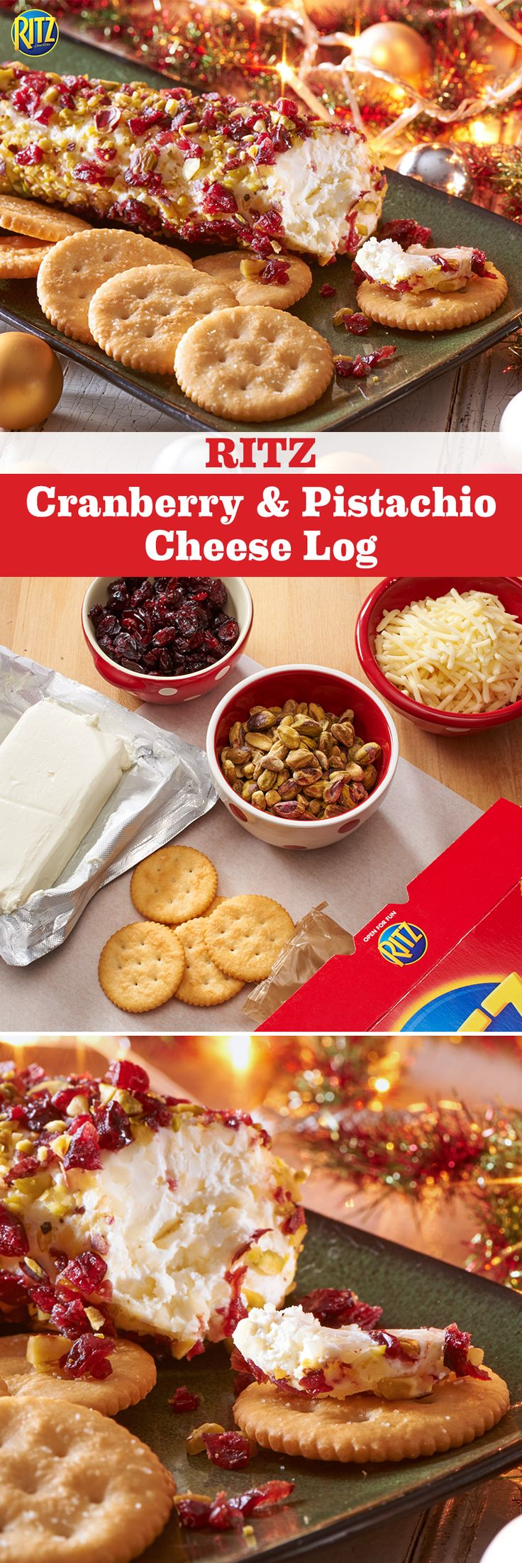 Decorate the tree while savoring our RITZ Cranberry & Pistachio Cheese Log. Mix white cheddar and cream cheese then shape into a log. Roll it through dried cranberries and pistachios and serve with RITZ crackers for a delicious holiday treat. Mmmm!