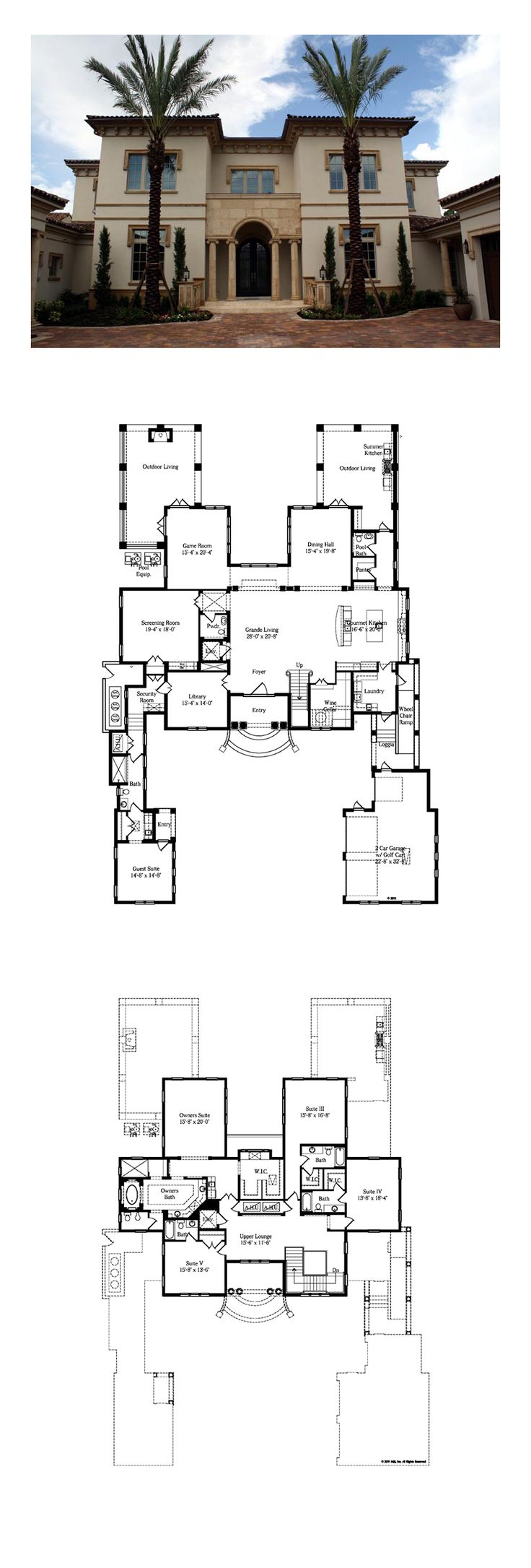 Italian House Plan 64727 | Total Living Area: 6238 sq. ft., 5 full bathrooms and 2 half bathrooms. #italianhome