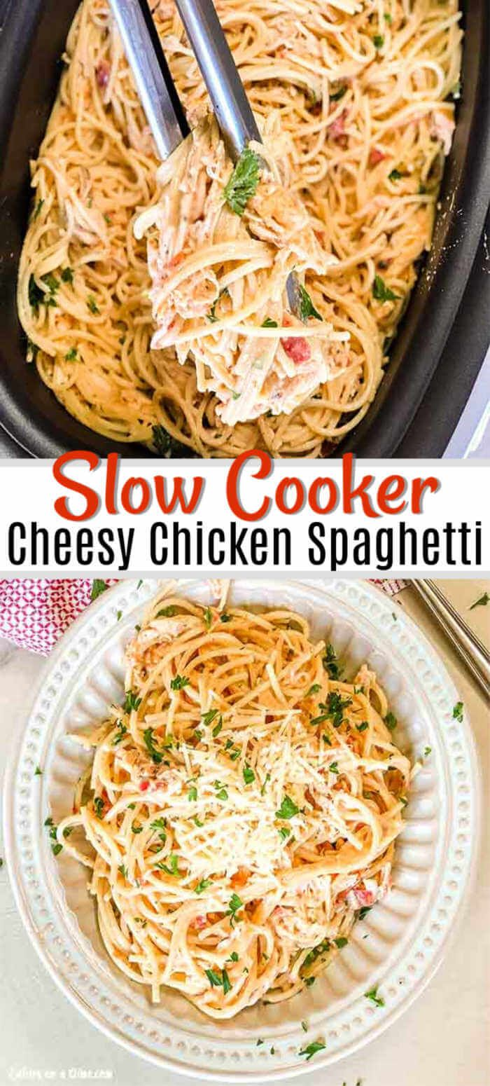 Crock Pot Cheesy Chicken Spaghetti | Recipe | Chicken spaghetti recipes, Cheesy  chicken spaghetti, Chicken spaghetti