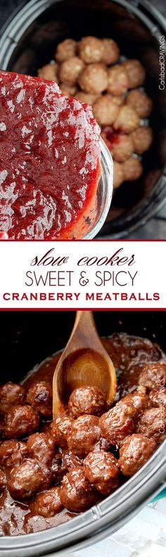 Sweet and Spicy Cranberry Meatballs (Slow Cooker) | perfect party meatball that everyone will love and so easy, moist and seeping with flavor from the slow cooker and INCREDIBLE sauce! #appetizer #meatballs #crockpot