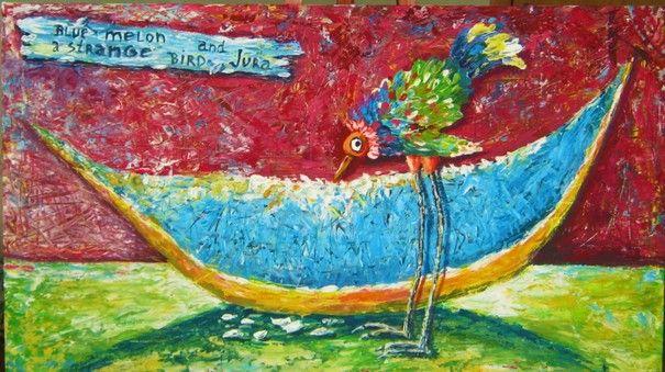 Ручная работа Странная птичка Джура. Картина акрилом