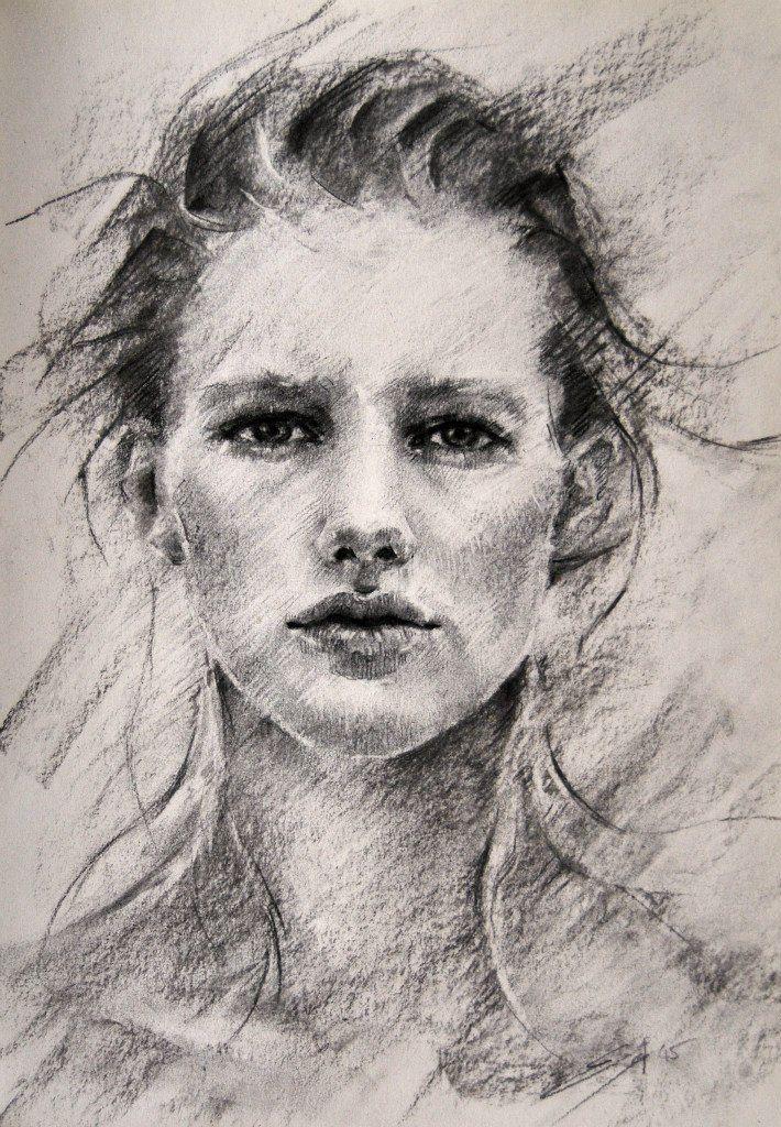 Рисунок углем портрет губа представляет