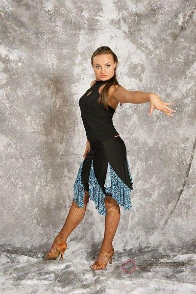 Natural Spin Dancewear Ladies Dancewear: Latin Skirt L018S_BlLeopard