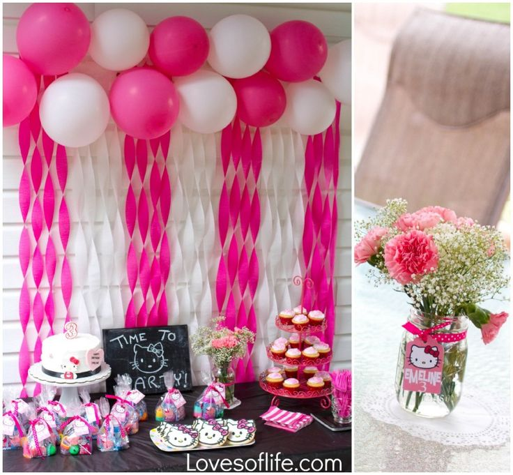 Loves of Life: Emelines Hello Kitty 3rd Birthday Party Balloon/Streamer wall.