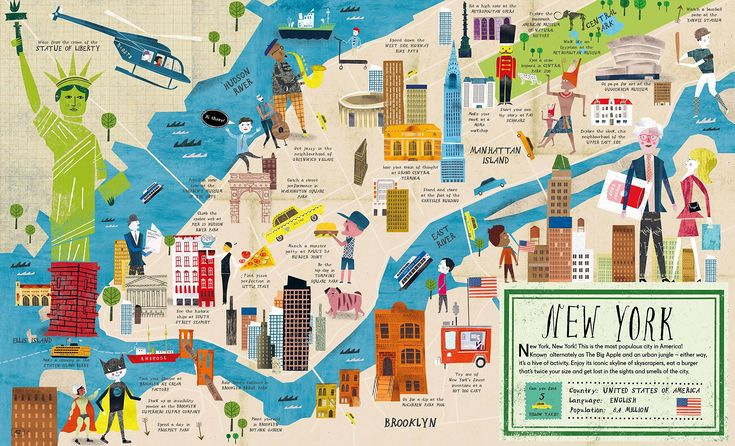 City atlas in 2021 illustrated map new york city map