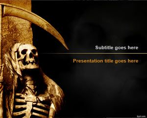 Free Grim Reaper PowerPoint Template is a Spooky scary skeleton PowerPoint design that you can download for Halloween presentations in Microsoft PowerPoint 2010 and 2013 #Halloween #ideas #pumpkin #design #powerpoint #spooky