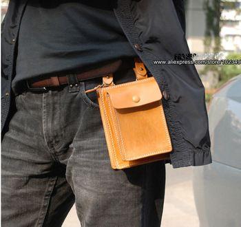 Дизайнер первый слой из натуральной кожи сумка растительного дубления кожаный кошелек кошелек ремень сумка мужчины женщины первый класс корова