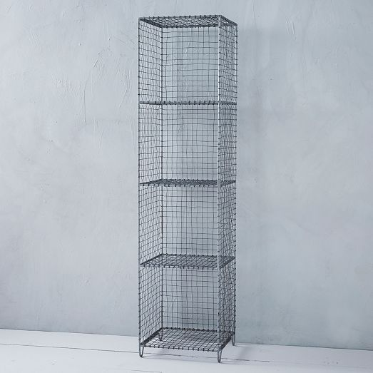 Wire mesh storage standing shelving rack west elm redecorate pinterest wire mesh wire - West elm bathroom storage ...