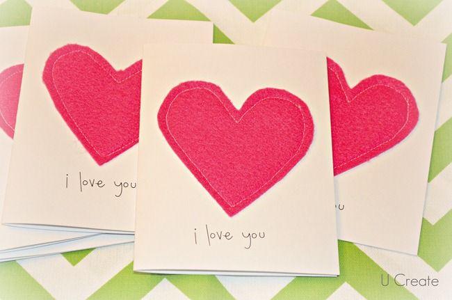 DIY handmade cards: Cards Ideas, Hands Made, Simple Handmade Cards, Valentine Cards, Diy Gifts, Homemade Cards, Valentines Cards, Felt Heart, Heart Cards
