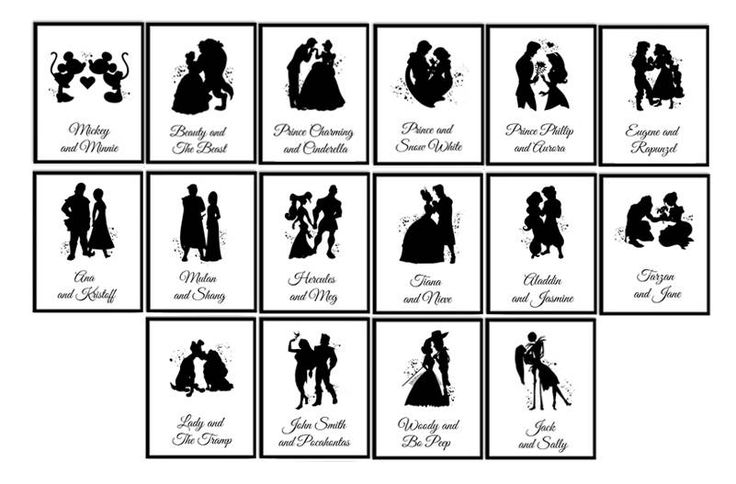Disney Wedding Table numbers Disney couples Watercolor print
