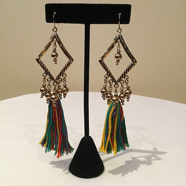 Gold Diamond Beads Multi Coloured Dangle Tassels Statement Earrings Handmade