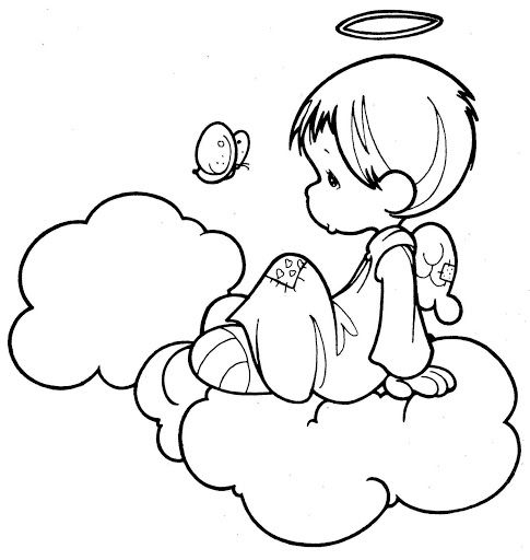 angel precious moments coloring page