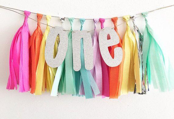 One Glitter Tissue Tassel Banner First Birthday Decor High Chair Banner First Birthday High Chair Banner Rainbow Party Rainbow 1st Unciorn