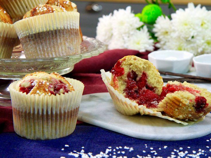 Vaniljmuffins med hallon   Köket.se