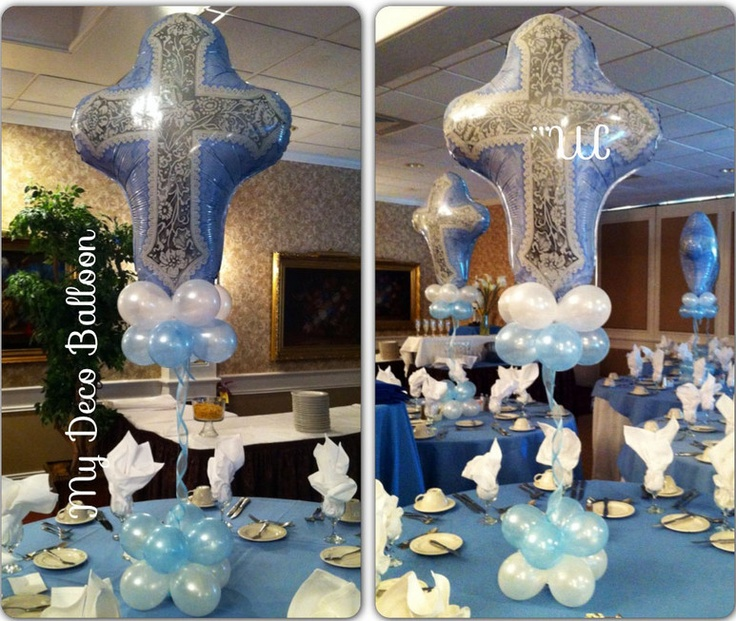 17 best images about balloon christening communions for Baby baptism decoration ideas