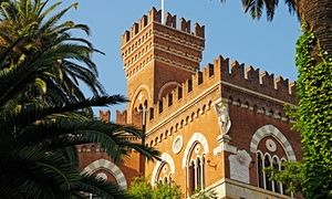 Castello d'Albertis, which can be reached by elevator from the city below.