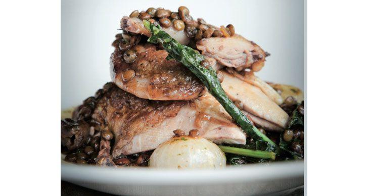 Roast quail, puy lentil and mushroom ragout: recipe from Crumbs Magazine