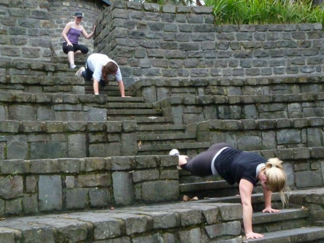 Website with lots of bootcamp exercises. The bear crawl down the stairs is just asking for trouble...