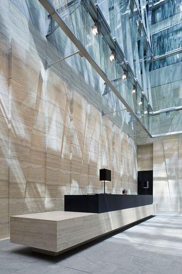 reception desk / 171 Collins Street Offices, Melbourne, designed by Bates Smart Architects