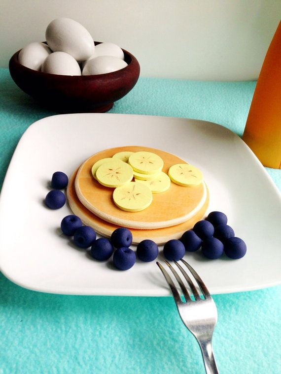 NEW Wooden Play Food: 2 Pancakes with Toppings on Etsy, $14.50