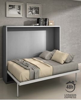 Armoire lit escamotable horizontale 140 x 200 pieds à retournement automatique - JOY gris mat