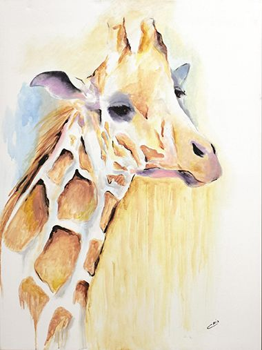 Le portrait de cette charmante girafe est rendu par une couleur or très douce sur un simple fond blanc. Entièrement peint à la main sur canevas.