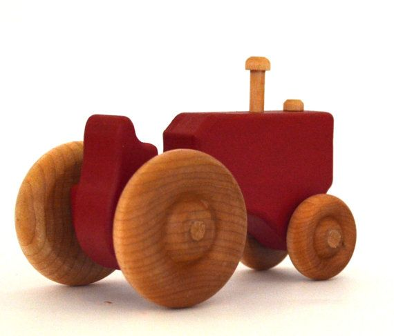 Red Wood Toy Tractor Personalized Wooden Toy Push by hcwoodcraft