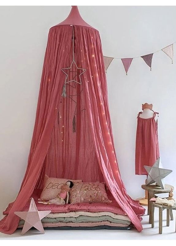 Bed Canopy for Baby Kids Reading Play Tents Cotton Linen Height 220cm (Red)