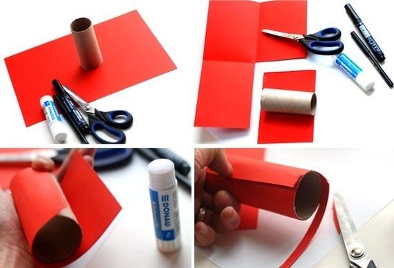 Separe o material requisitado e corte um pedaço do papel cartão vermelho de 15x10cm e cubra todo o rolinho de papel com a cola bastão. foto: Krokotak