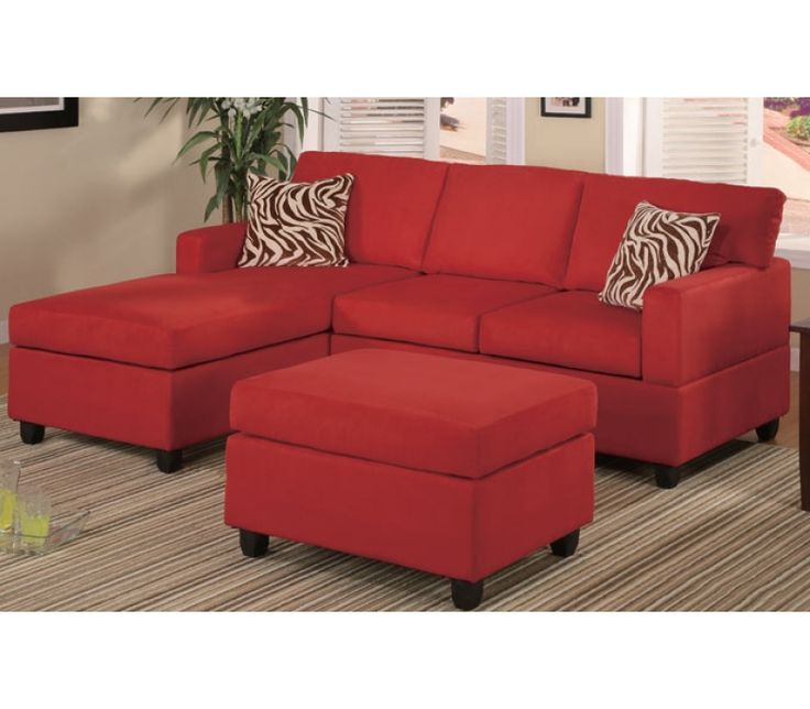 Mini Sectional W Reversible Chaise | Red Microfiber Reversible Sectional  Sofa W/ Ottoman
