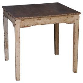 """Weathered wood dining table in ivory and brown.   Product: Dining tableConstruction Material: Solid woodColor: Distressed ivory and brownDimensions: 30"""" H x 32"""" W x 32"""" D"""