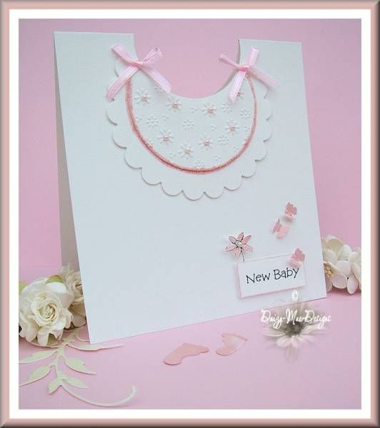 Pink baby's bib card by Daizy-Mae - Cards and Paper Crafts at Splitcoaststampers