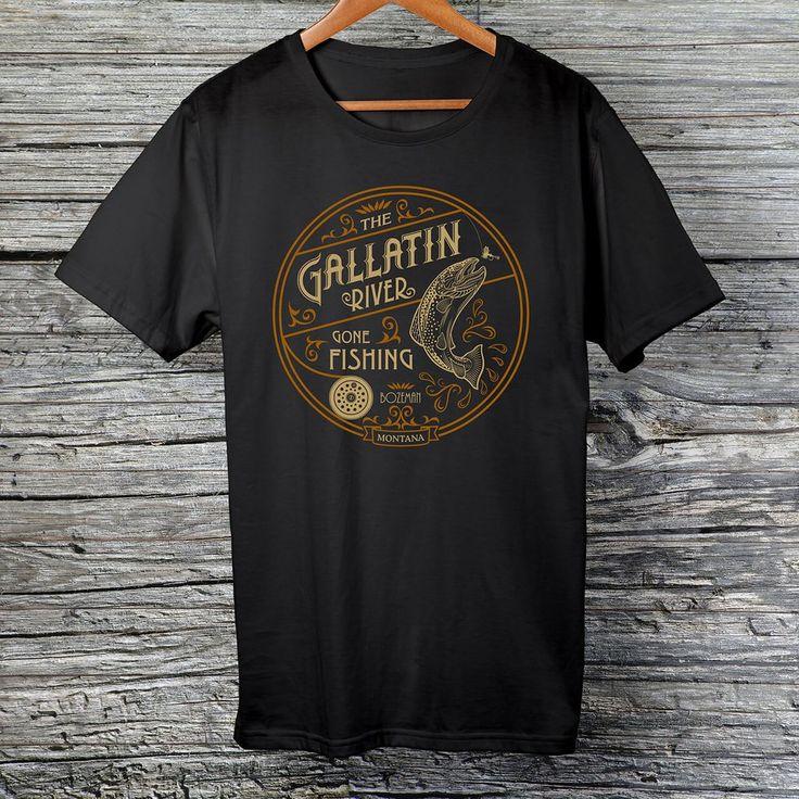 Gallatin River Gone Fishing, black t-shirt