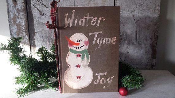 Primitive Snowman on Vintage Book Primitive Winter Decor