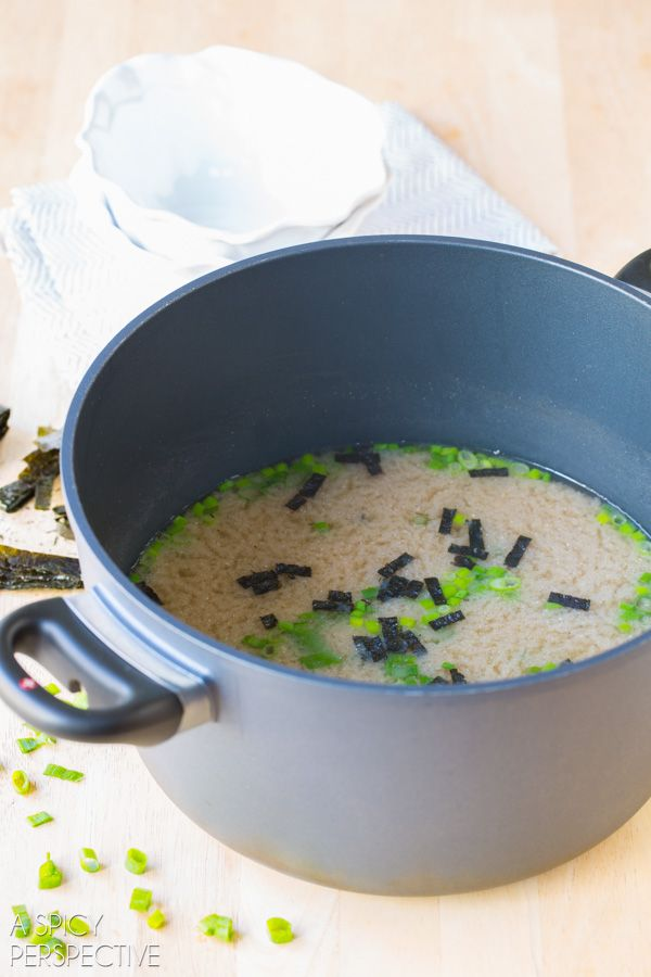 Easy 5 ingredient Miso Soup Recipe that takes only 5 minutes to make! This delicious savory soup is light, yet filling. A perfect lunch or appetizer for