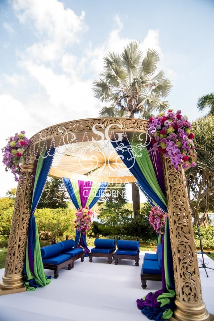 Suhaag Garden Indian Wedding Decorators, California Indian Wedding Decorators, San Fransisco Indian Wedding Decorators, Gold Mandap, Peacock Inspired, Sapphire Wedding, Lime Green Wedding, Royal Purple Wedding, Outdoor Indian Wedding, West Indian Wedding, Luxury Indian Wedding
