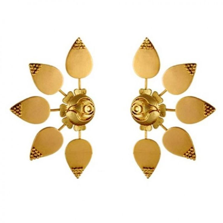 Etched Rose Earrings worn by Sonam Kapoor at Cannes '14