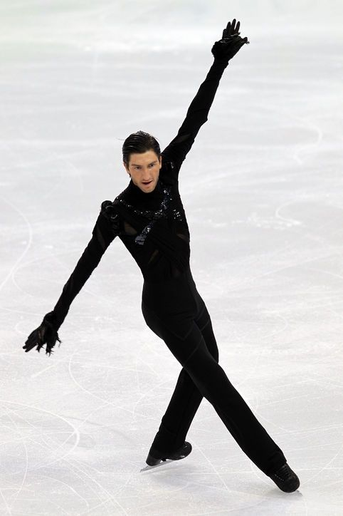 Best Olympic Ice Skating Costume: Evan Lysacek, 2010 Not to be outdone by Johnny Weir, gold-medal-winner Evan collaborated with his friend Vera Wang for his costumes. At first glance, this may look subtler than Johnny's, but we've got two words for you: wrist fringe.