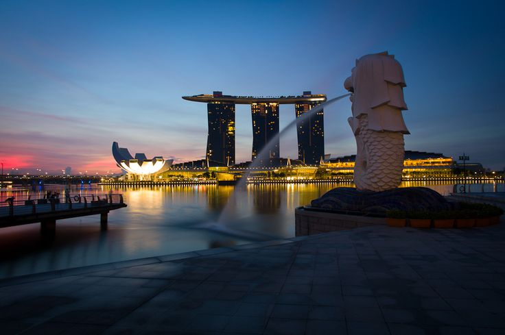 The Merlion at Sunrise in Singapore