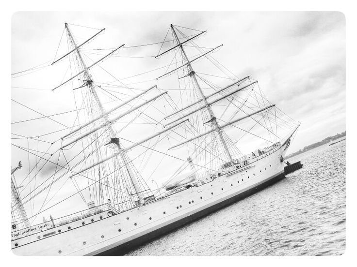 The Gorch Fock in the harbour of Stralsund. The ship is a former training vessel of the german navy. After WW2 it was a russian ship. After 1989 it was sold back to Germany