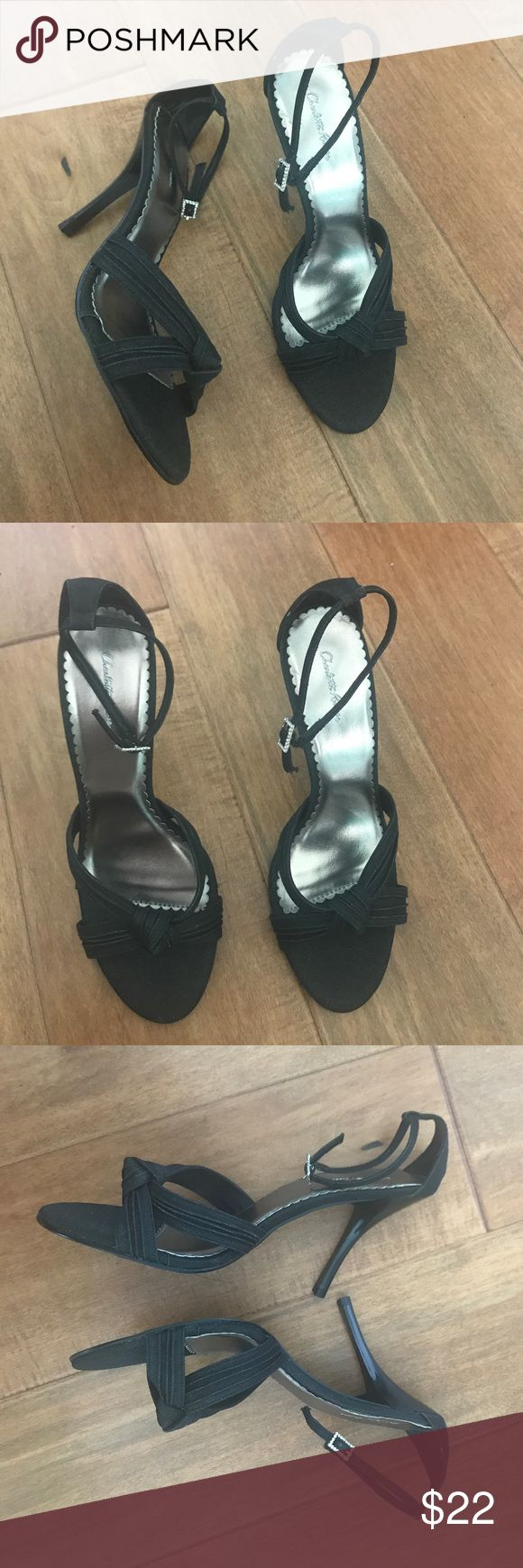 """NWT Charlotte Russe Heels Brand new and never worn. Charlotte Russe heels. Size 9. Black sparkly color. Ankle strap has rhinestone clasp design. Heel measures 3.5"""" inches tall. Charlotte Russe Shoes Heels"""