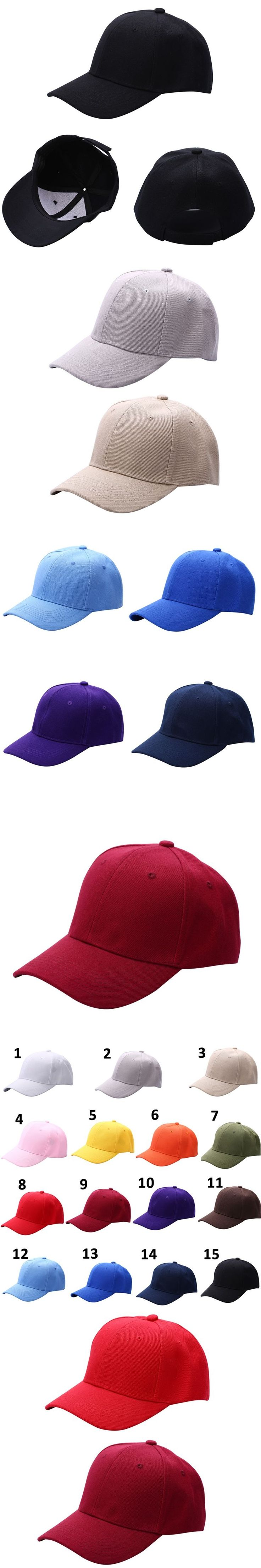 Fashion Men Women Plain Baseball Cap Unisex Curved Visor Hat Hip-Hop Adjustable Peaked Hat Visor Caps Solid Color 15