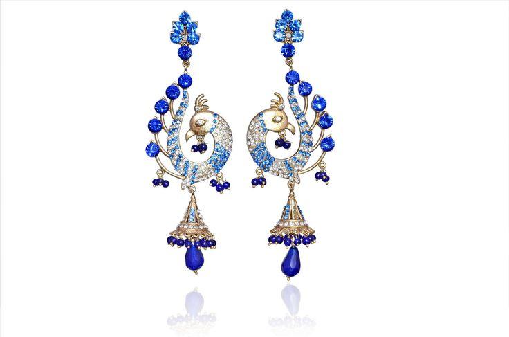 Latest Designer Victorian Style Peacock BLU Earrings-Jewellery-Jaipur Mart