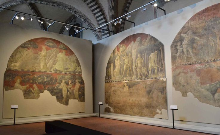 """Set-up of the temporary exhibition """"With Juice of Herbs and Green Earth: Paolo Uccello's Chiostro Verde Frescoes Restored"""" at Santa Maria Novella Museum in Florence."""