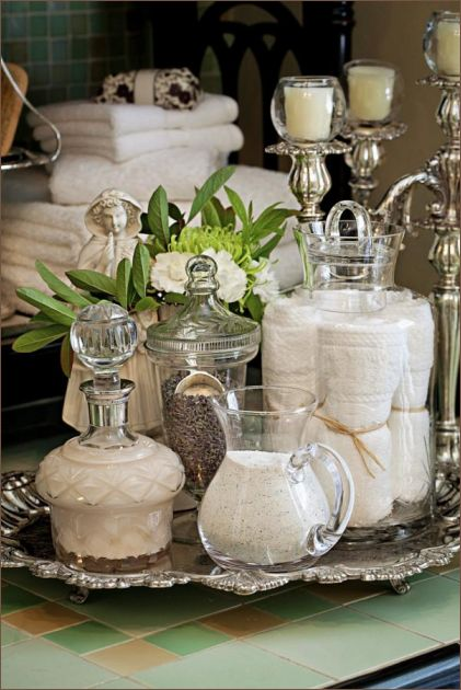 Instead of hiding them in cabinets, display your Bath Toiletries...